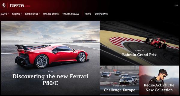 FerrariOne_website branding