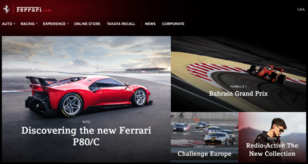FerrariOne_website branding