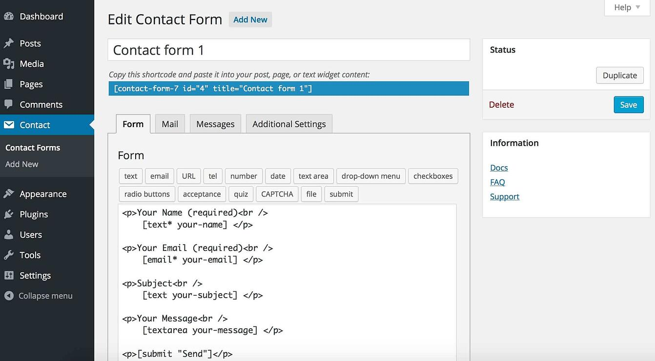 WordPress-form