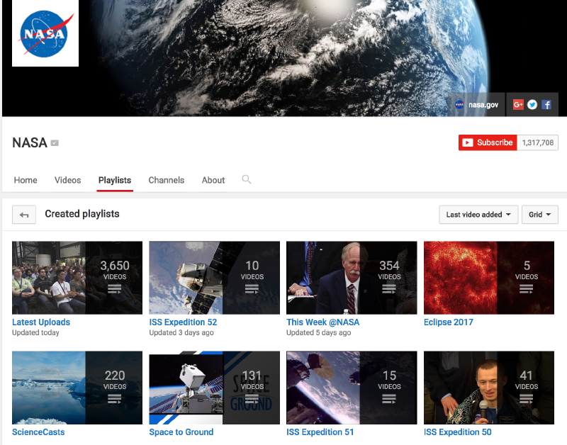 NASA Youtube Playlists