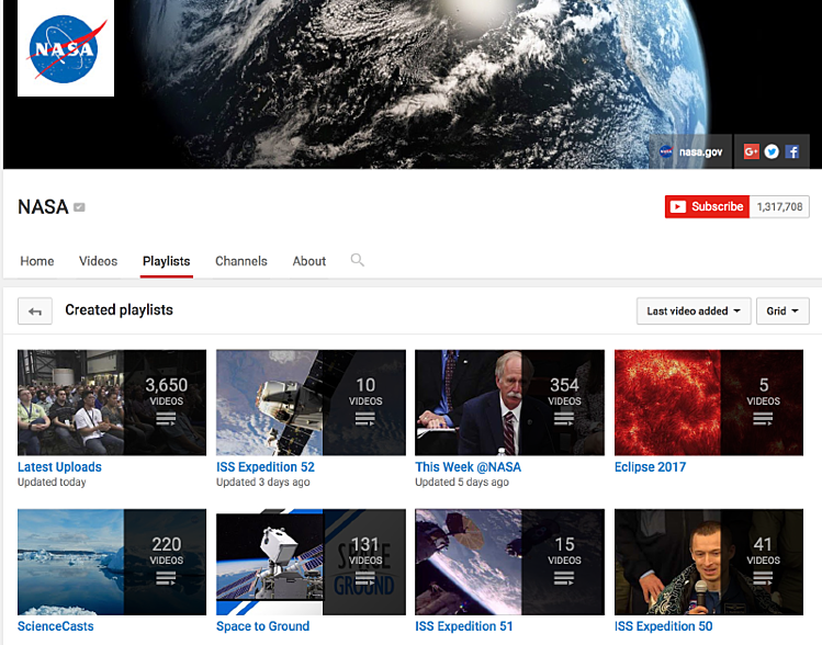 NASA Youtube Playlists