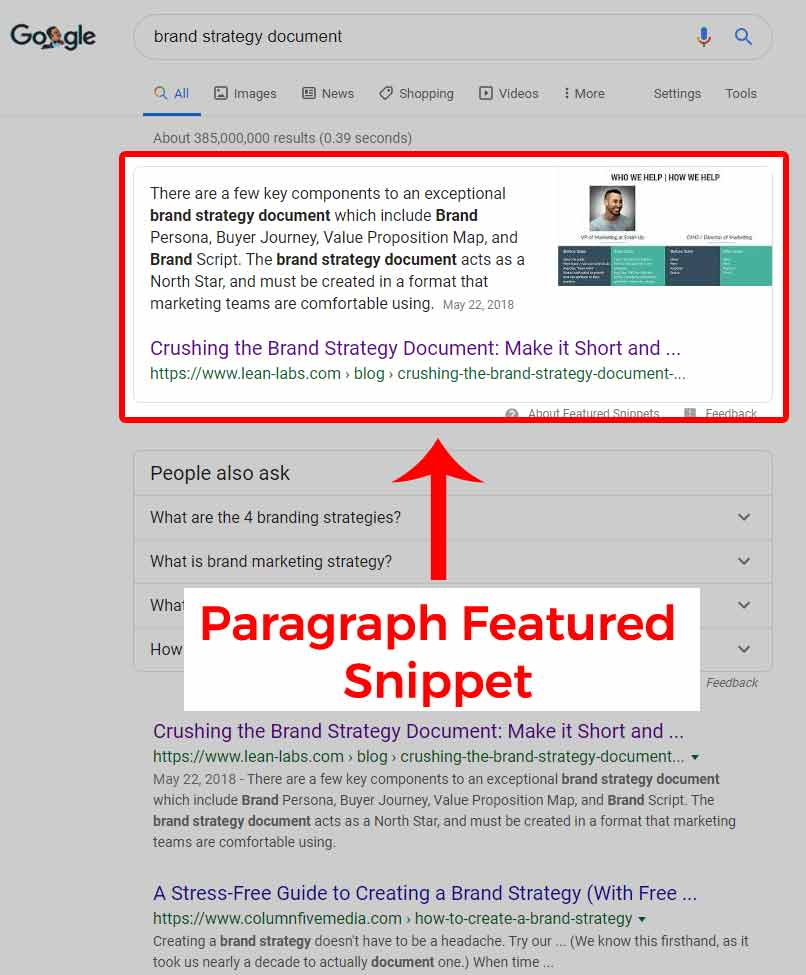 google-featured-snippet-Paragraph-Example